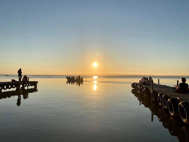 Sunset over the lagoon at Albufera, Valencia Region, Spain
