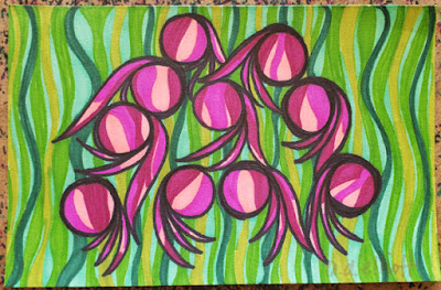 A pen and ink doodle meditation in pinks and greens and a blurb about journaling.
