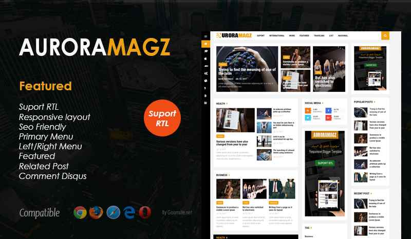 Auroramagz Responsive Blogger Template