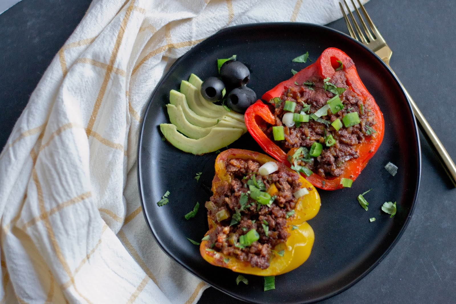 Enchilada Stuffed Peppers Whole30, Paleo, dairy-free, gluten-free