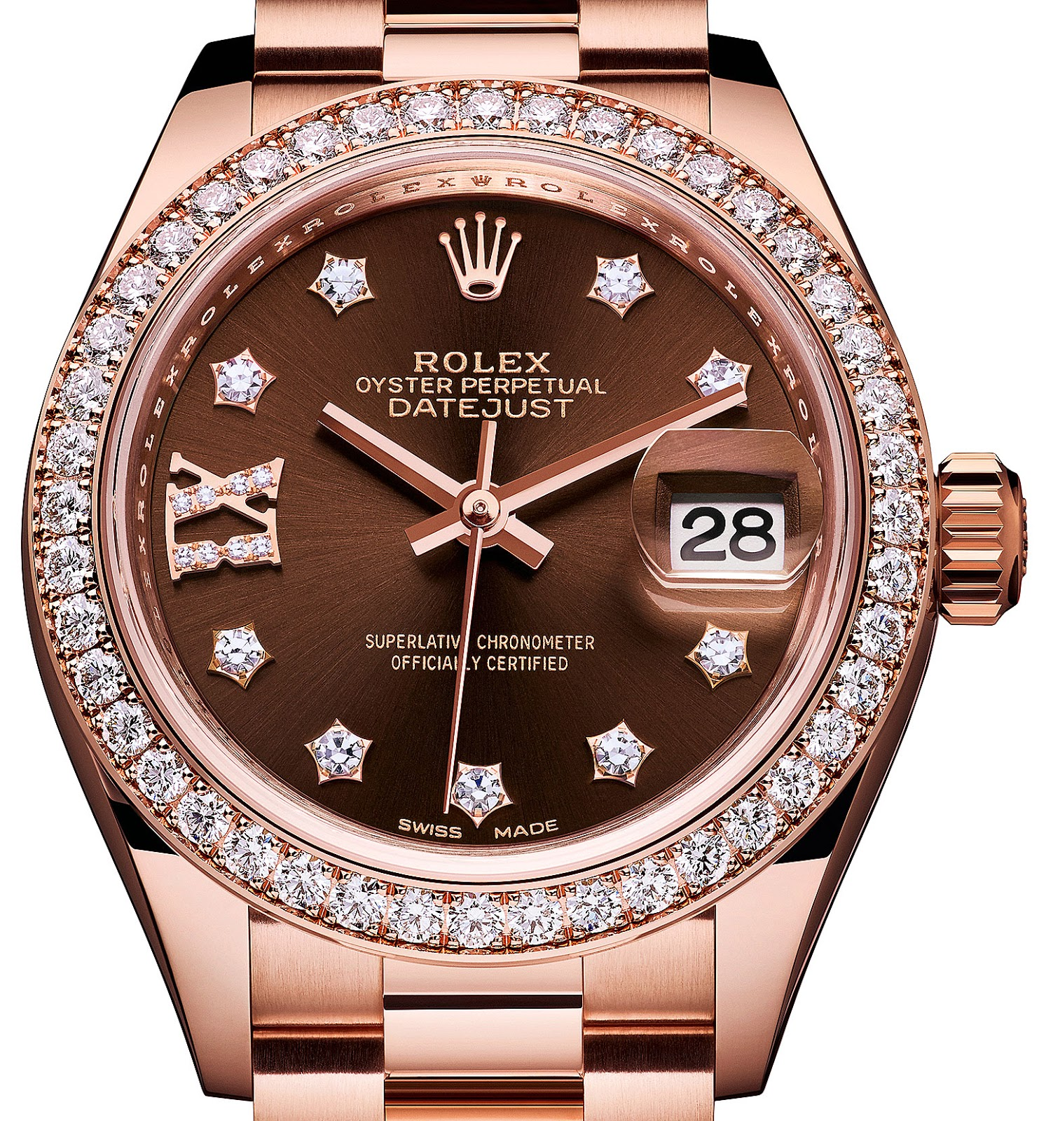 10e20ef3489 Also the sunburst chocolate brown dial contrasts beautifully with the  EverRose gold and diamonds to offer a stunningly warm color palette. Rolex  ...