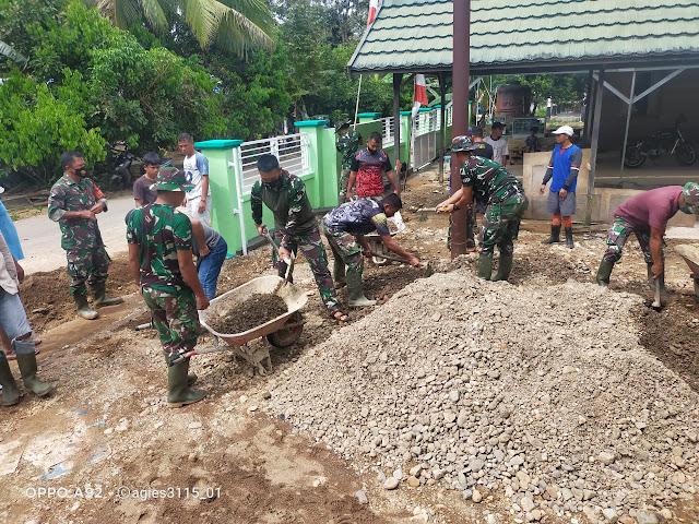 Luar Biasa, Meski Bukan Sasaran Fisik TMMD Kodim Tanjung Bantu Pengecoran Halaman Masjid