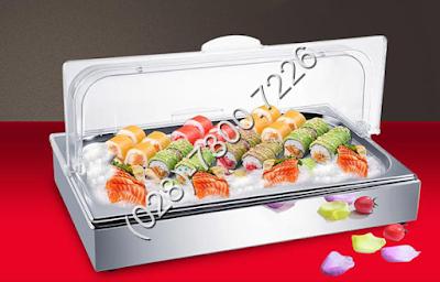Khay inox trưng bày thức ăn buffet chữ nhật 1 ngăn trưng bày thức ăn lạnh có nắp pc