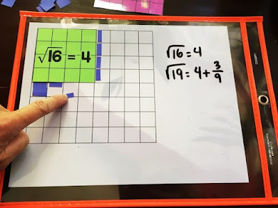 How to estimate square roots using visual models - approximating the square root of 19 using cut paper squares