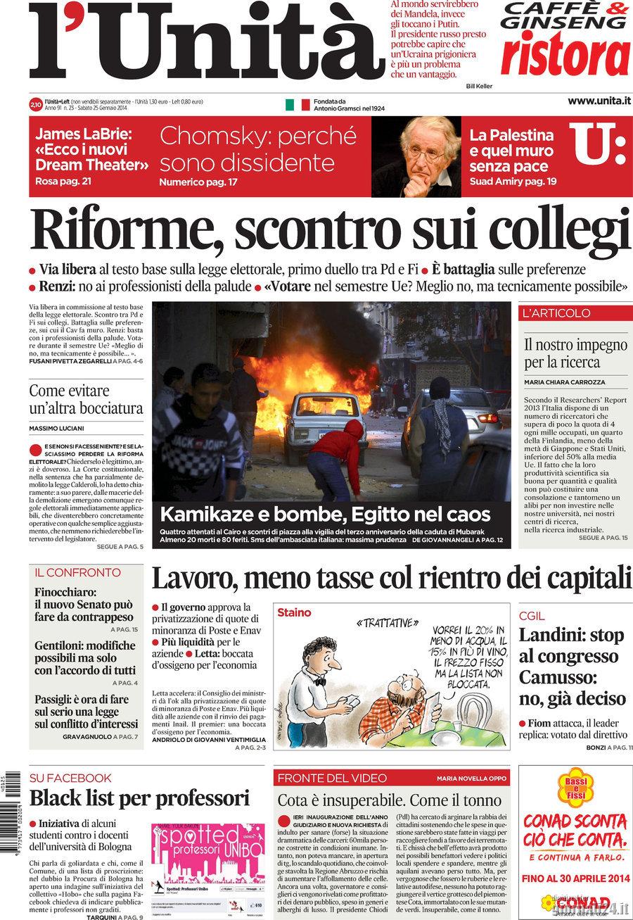 LE PRIME PAGINE DEI QUOTIDIANI. Abruzzo, il turismo sessuale della giunta terremotata. Berlusconi si fa ritrarre senza cerone. Bomba a Roma, allarme attentati per Hollande
