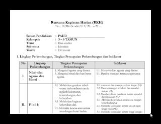 Kumpulan Rencana Kegiatan Harian (RKH ) TK/PAUD Usia 5-6 Tahun 2016