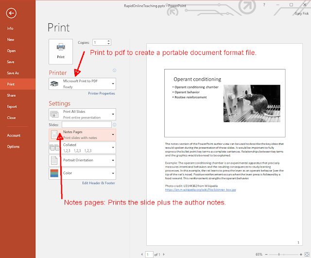 This is the printing view showing the printer (pdf) and slides (notes pages) settings.