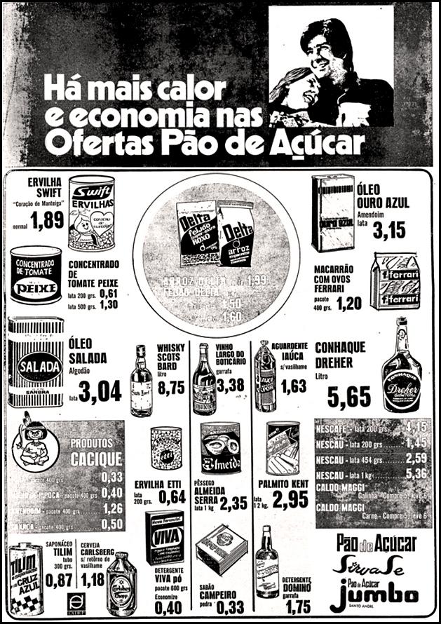 Anúncio de 1971 do supermercado Pão de Açúcar com promoções