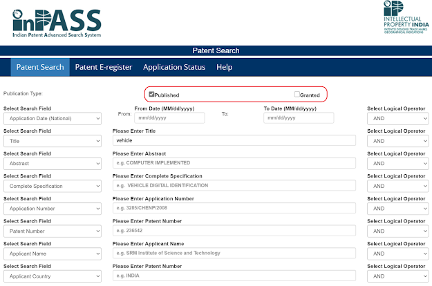 Indian patent publication search