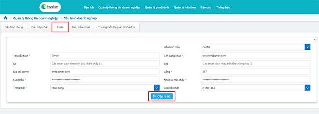 Hình 10 - Nhập thông tin cấu hình Gmail trên hệ thống hóa đơn điện tử S-Invoice