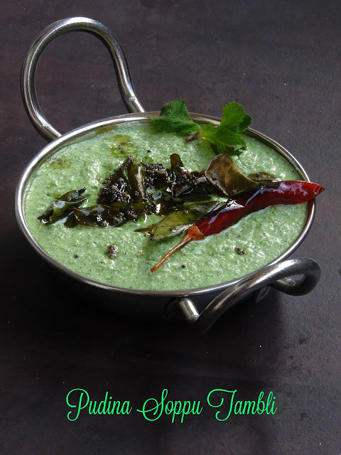 Pudina Soppu Tambli, Mint Leaves Sour Curry