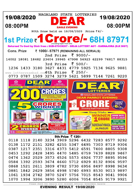 Lottery Sambad Result 19.08.2020 Dear Eagle Evening 8:00 pm
