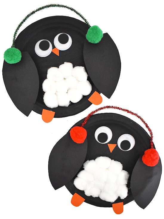 Paper plate animals penguin craft