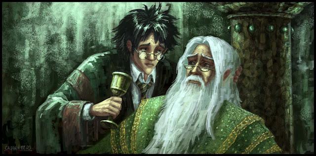 Хари и Дъмбълдор - Хари Потър фен арт