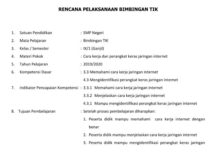 Perangkat Pembelajaran Tik Smp Mts Kurikulum 2013 Tahun 2019 2020 Informasi Data Pendidikan