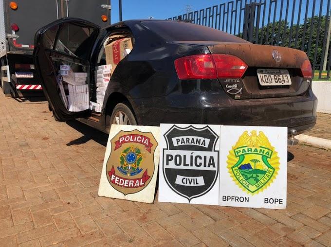 Dois veículos são apreendidos carregados com cigarros contrabandeados em Guaíra
