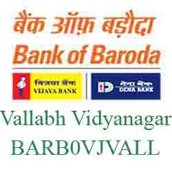 Vijaya Baroda Vallabh Vidyanagar Branch Ahmedabad New IFSC, MICR