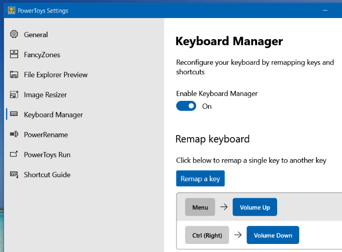 PowerToys Keyboard Manager Settings