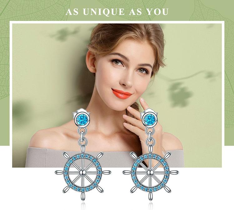 藍鋯石船舵 925純銀耳環(限量款)