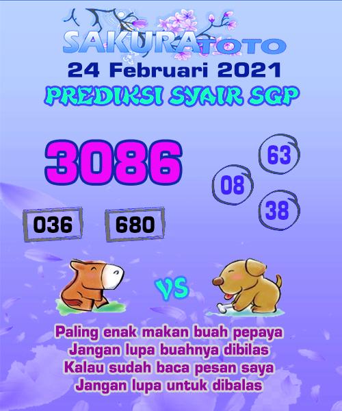 Syair Sakuratoto SGP Rabu, 24 Februari 2021