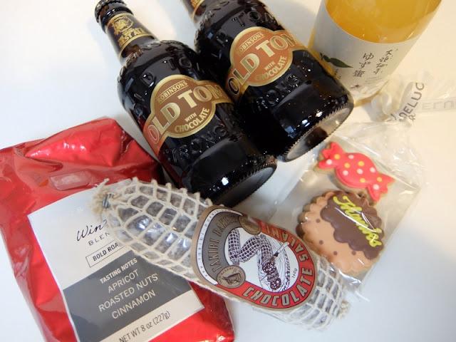チョコビール、チョコサラミ、ゆず蜜、コーヒー粉の写真です。