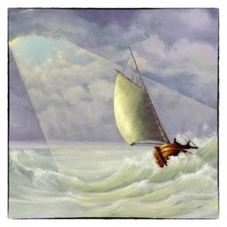 Bijbelse kaart Ruwe Stormen, zeilboot in licht in storm op zee Atelier for Hope Christelijke kaarten