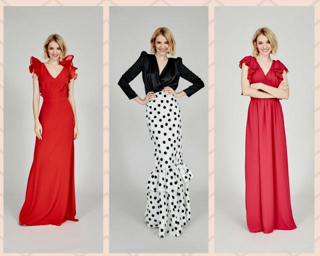 invitada boda lunares falda vestido largo rojo