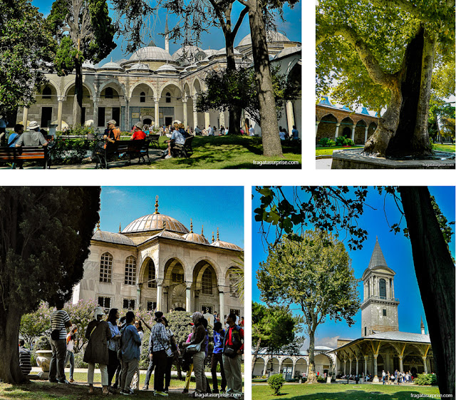 Pátios e jardins do Palácio de Topkapi, em Istambul