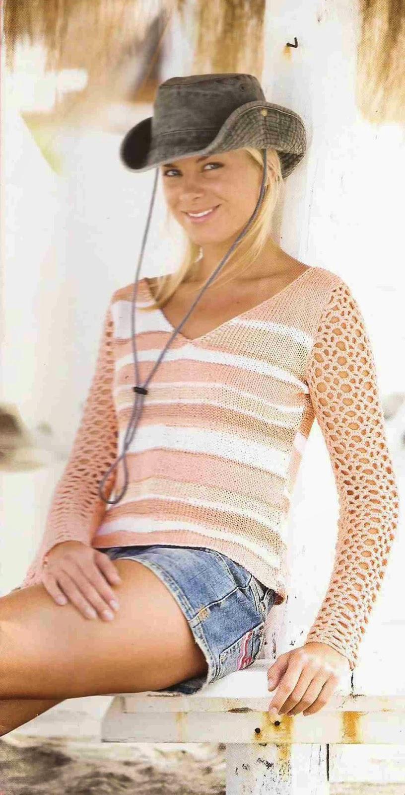 Blusa a Crochet y Dos Agujas
