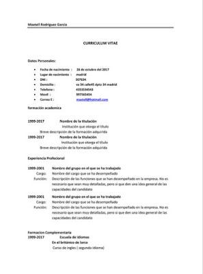 Curriculum vitae en PDF plantilla