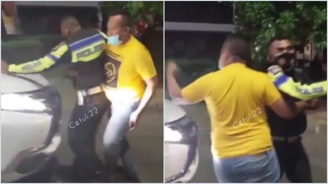Viral Video Polisi Diusir Pria Baju Kuning Saat Cegat Mobil Terobos Penyekatan di Karawang