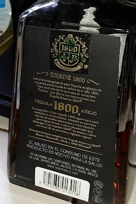 back of tequila bottle - 1800 Anejo