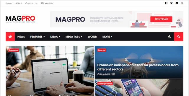 تحميل قالب بلوجر MAG PRO للمواقع الإحترافية