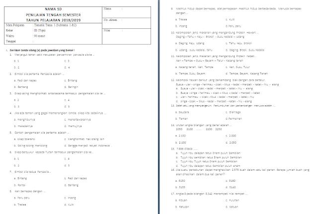 Soal PTS/UTS Kelas 3 SD/MI: Tema 1 Subtema 1-2