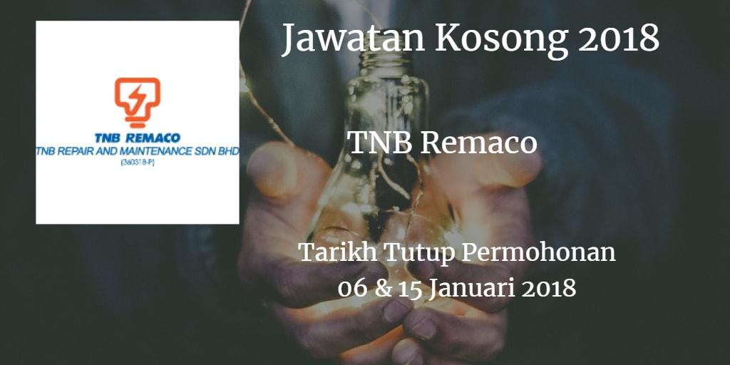 Jawatan Kosong TNB Remaco 06 & 15 Januari 2018