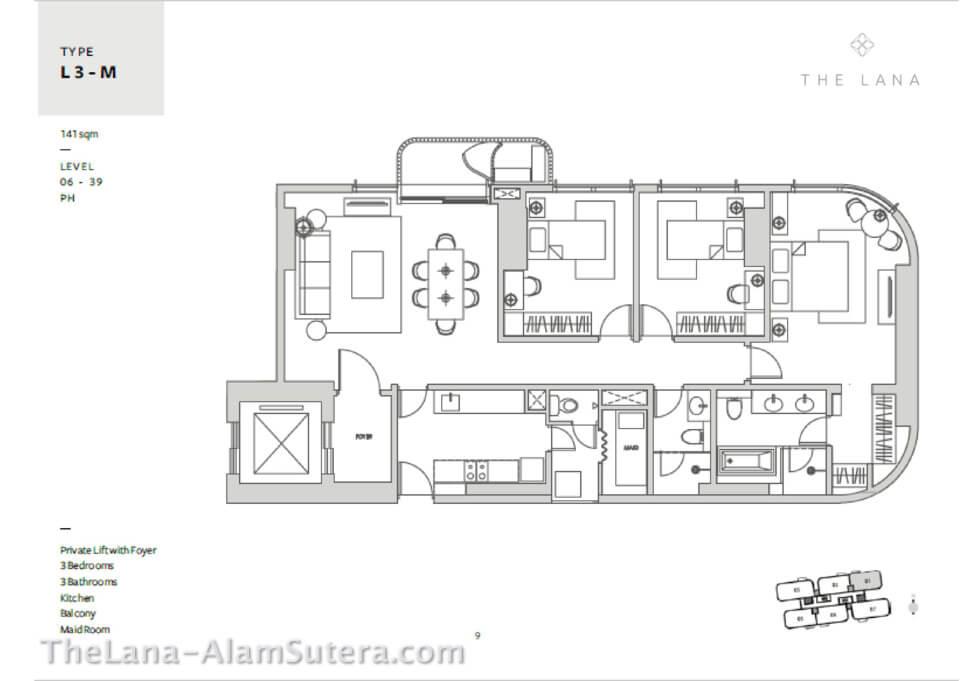 L3-M Apartemen The Lana Alam sutera