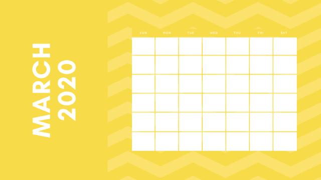 Hermoso calendario amarillo de marzo del 2020