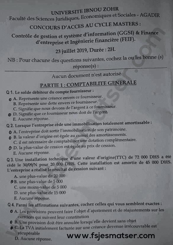 Exemple concours Master Contrôle de gestion et système d'information (CGSI) et Finance d'entreprise et Ingénierie Financière (FEIF) 2019-2020 - Fsjes Ibn Zohr Agadir