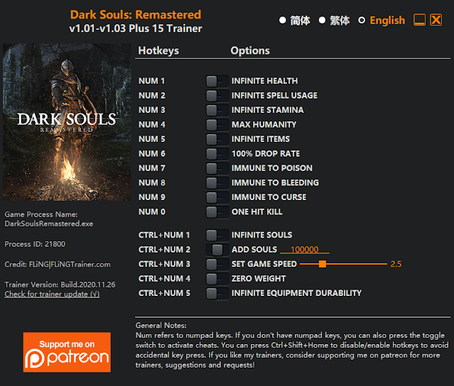 Tampilan Menu Trainer Dark Souls: Remastered PC