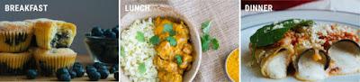 مثال أسبوع من الوجبات التي تصور فطائر التوت الأزرق لتناول طعام الغداء على غداء فرو الدجاج الهندي واللازانيا على العشاء