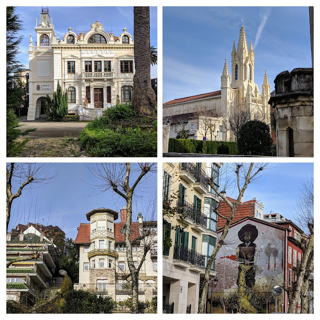 One day in Santander in winter: collage of a genteel neighborhood on the hill