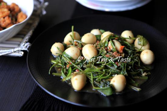 Resep Tumis Kangkung Tauco dengan Telur Puyuh