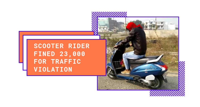 Scooter Rider From Delhi Fined Rs. 23,000 for traffic violation Scooter Worth only 15,000