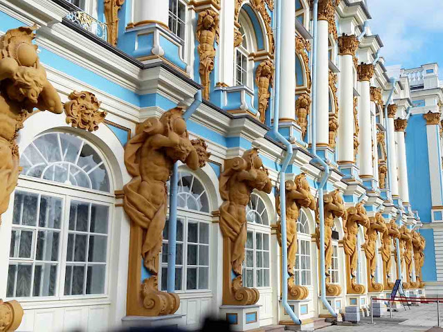 The ornate facade of The Catherine Palace, St. Petersburg