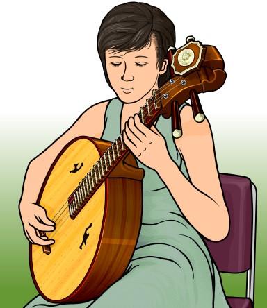 阮(Ruan ルアン げんかん)を演奏している女性