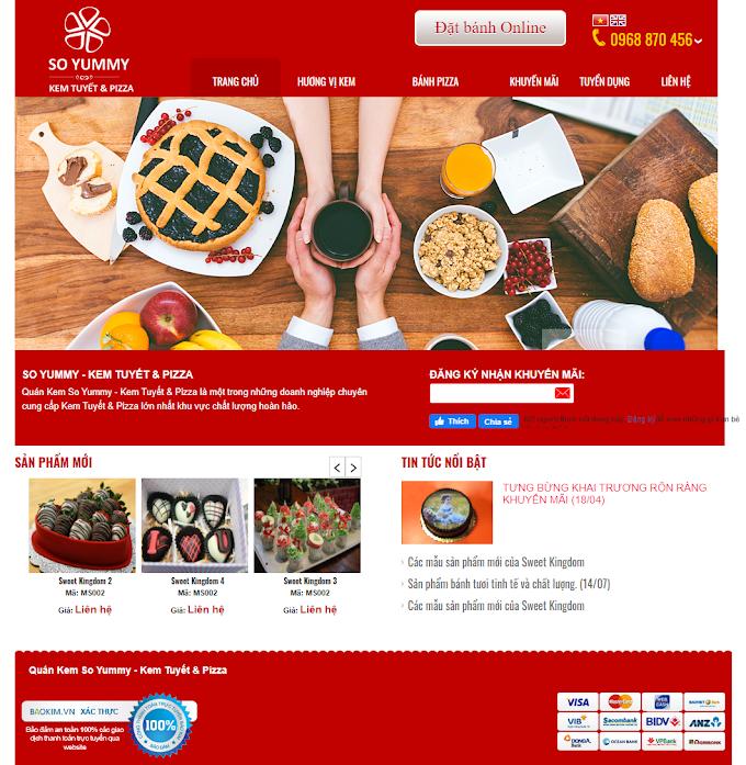 Mẫu website tiệm bánh online