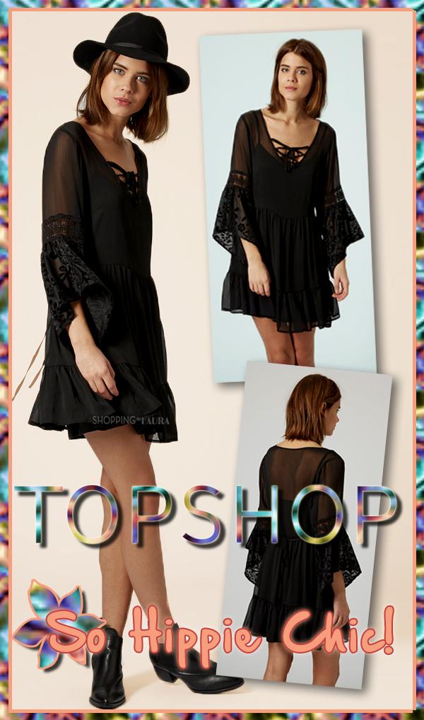 Robe noire TOPSHOP manches 3/4