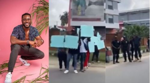 BBNaija: Pere Fans Troop In Front of Biggie's House To Protest (Video)