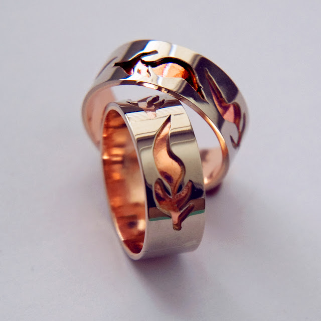 Weddig rings by Zhaawano Giizhik titled Ishkoden