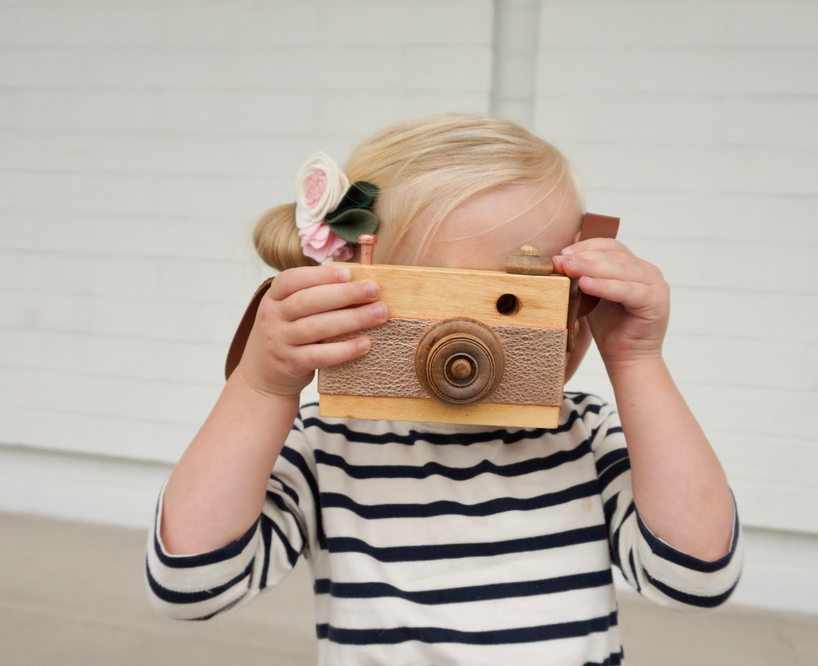 flora & peg wooden toy camera rose gold metallic